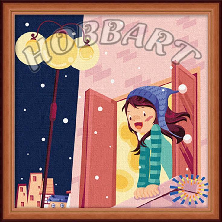 «Первый снег»Hobbart<br><br><br>Артикул: HB3030004<br>Основа: Холст<br>Сложность: легкие<br>Размер: 30x30<br>Количество цветов: 22<br>Техника рисования: Без смешивания красок