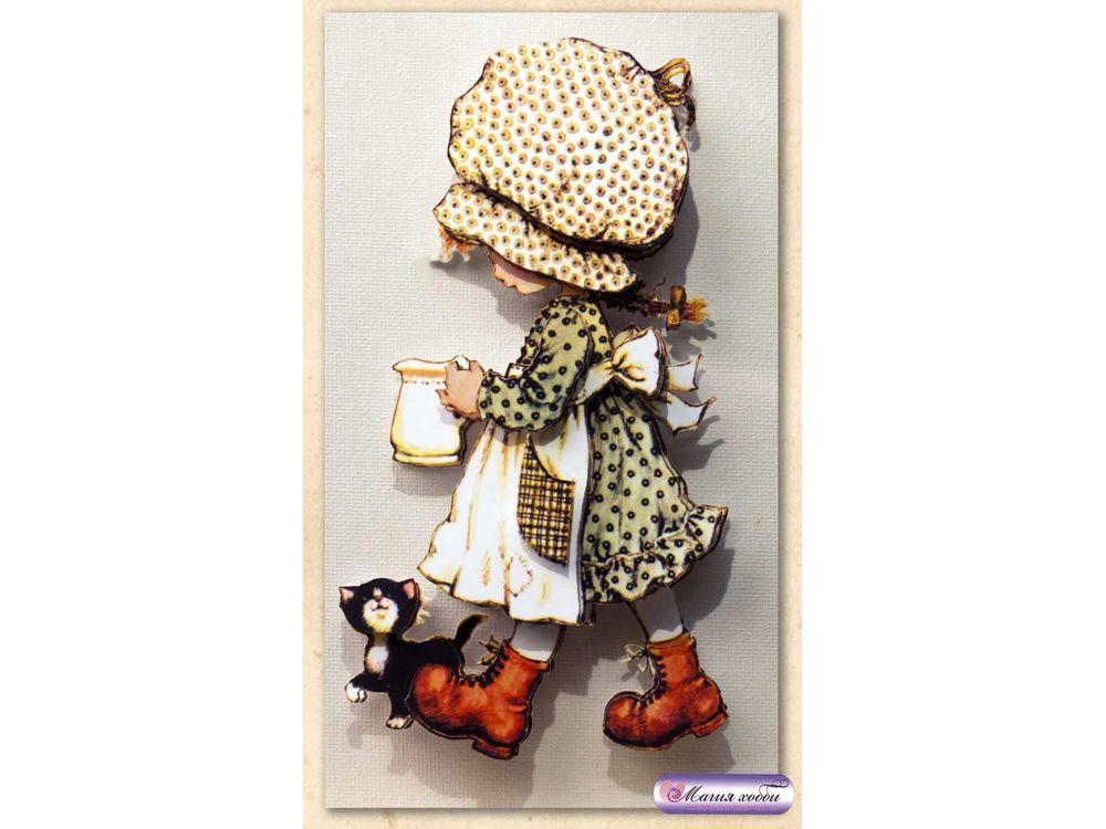 """Папертоль «Девочка с молочником»Магия Хобби<br>Техника папертоль - объемное 3D-изображение из бумаги, созданное собственноручно. Простая в исполнении, но очень необычная техника. Набор содержит:<br> - разобранное """"по слоям"""" изображение картины, выполненное на качественной плотной бумаге;<br> - инструкцию ...<br><br>Артикул: РТ130008<br>Основа: Картон<br>Сложность: средние<br>Размер: 9x14 см"""