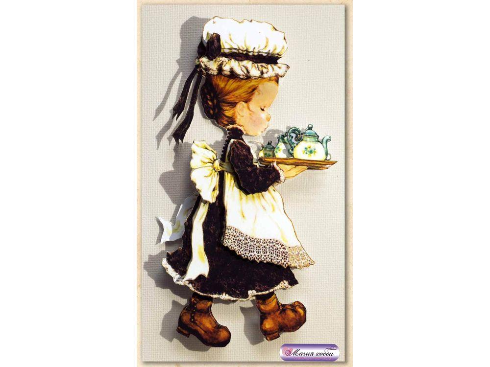 """Папертоль «Девочка с чайным подносом»Магия Хобби<br>Техника папертоль - объемное 3D-изображение из бумаги, созданное собственноручно. Простая в исполнении, но очень необычная техника. Набор содержит:<br> - разобранное """"по слоям"""" изображение картины, выполненное на качественной плотной бумаге;<br> - инструкцию ...<br><br>Артикул: РТ130009<br>Основа: Картон<br>Сложность: средние<br>Размер: 9x15 см"""
