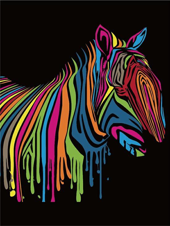 «Зебра»Цветной (Premium)<br><br><br>Артикул: ME1004_Z<br>Основа: Цветной холст<br>Сложность: легкие<br>Размер: 30x40 см<br>Количество цветов: 25<br>Техника рисования: Без смешивания красок