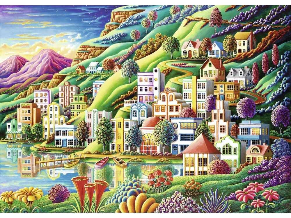 Пазлы «Волшебный город»Ravensburger<br>Пазл - игра-головоломка, мозаика, состоящая из множества фрагментов, различающихся по форме.<br> По мнению психологов, игра в пазлы способствует развитию логического мышления, внимания, воображения и памяти. Пазлы хороши для всех возрастов - и ребенка-дошко...<br><br>Артикул: 19402<br>Размер: 50x70 см