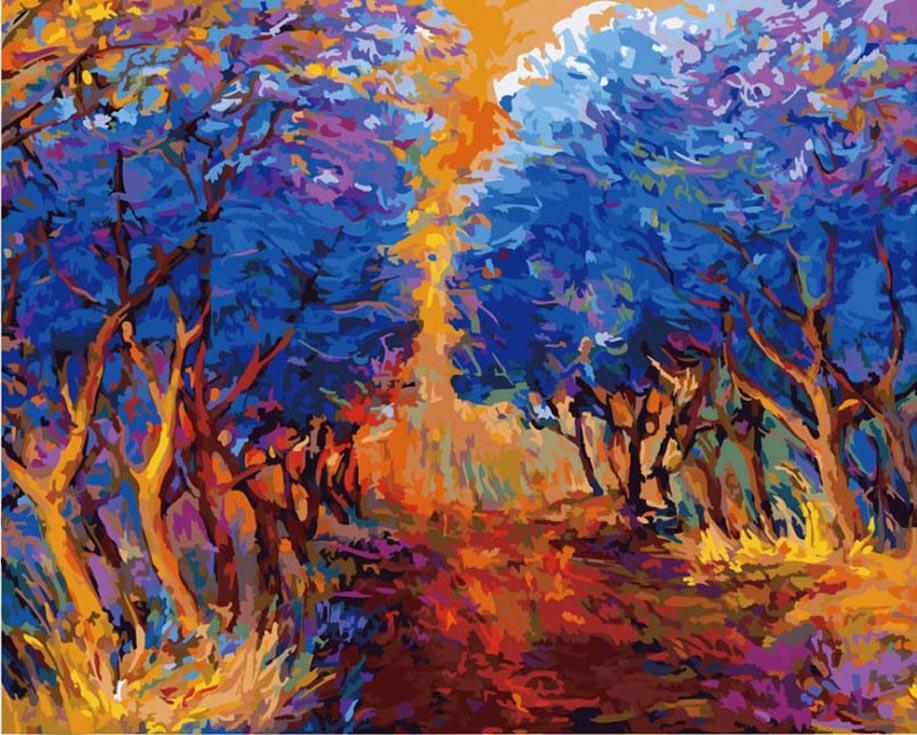 Картина по номерам «Осенний лес» Ивайло НиколоваКартины по номерам Белоснежка<br><br><br>Артикул: 885-АВ-C<br>Основа: Цветной холст<br>Сложность: очень сложные<br>Размер: 40x50 см<br>Количество цветов: 35<br>Техника рисования: Без смешивания красок