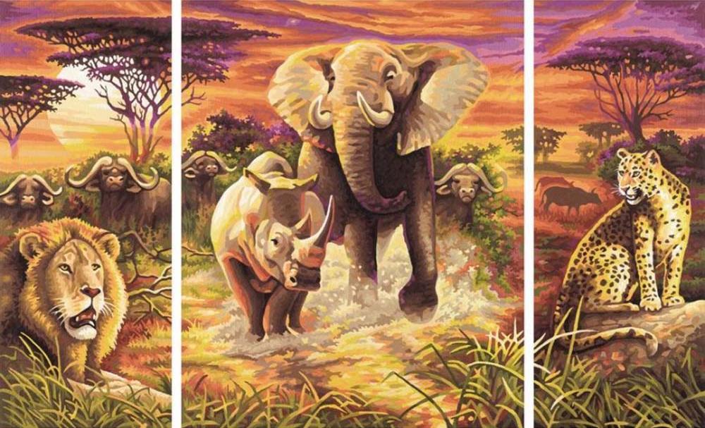 """Картина по номерам «Африка»Schipper (Шиппер)<br>Производитель наборов картин по номерам """"Schipper"""" - это исключительное качество всех составляющих. Особенностью этого бренда является то, что основа картины - высококачественный картон, покрытие которого имитирует натуральный холст. Краски """"Schipper"""" обл...<br><br>Артикул: 9260520<br>Основа: Картон<br>Сложность: сложные<br>Размер: 2 шт. 20x50 см, 1 шт. 40x50 см<br>Количество цветов: 36<br>Техника рисования: Без смешивания красок"""