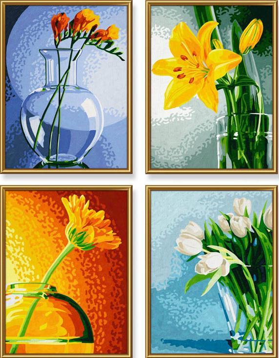 """Картина по номерам «Цветы»Schipper (Шиппер)<br>Производитель наборов картин по номерам """"Schipper"""" - это исключительное качество всех составляющих. Особенностью этого бренда является то, что основа картины - высококачественный картон, покрытие которого имитирует натуральный холст. Краски """"Schipper"""" обл...<br><br>Артикул: 9340529<br>Основа: Картон<br>Сложность: средние<br>Размер: 4 шт. 18x24 см<br>Количество цветов: 35<br>Техника рисования: Без смешивания красок"""