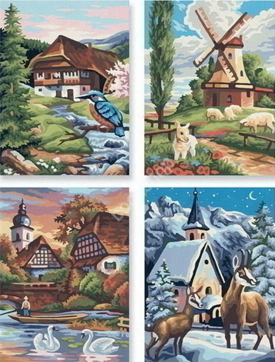 """Картина по номерам «Времена года»Schipper (Шиппер)<br>Производитель наборов картин по номерам """"Schipper"""" - это исключительное качество всех составляющих. Особенностью этого бренда является то, что основа картины - высококачественный картон, покрытие которого имитирует натуральный холст. Краски """"Schipper"""" обл...<br><br>Артикул: 9340552<br>Основа: Картон<br>Сложность: сложные<br>Размер: 4 шт. 18x24 см<br>Количество цветов: 24<br>Техника рисования: Без смешивания красок"""