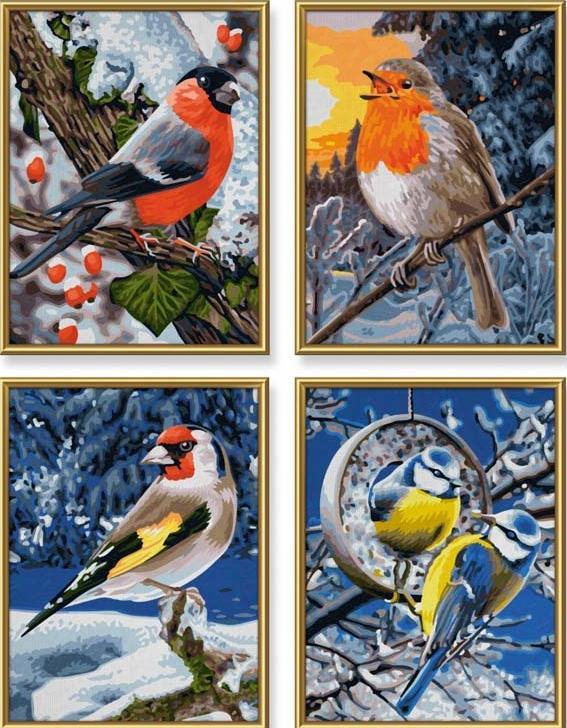 """«Птицы зимой»Schipper (Шиппер)<br>Производитель наборов картин по номерам """"Schipper"""" - это исключительное качество всех составляющих. Особенностью этого бренда является то, что основа картины - высококачественный картон, покрытие которого имитирует натуральный холст. Краски """"Schipper"""" обл...<br><br>Артикул: 9340661<br>Основа: Картон<br>Сложность: сложные<br>Размер: 4 шт. 18x24 см<br>Количество цветов: 36<br>Техника рисования: Без смешивания красок"""