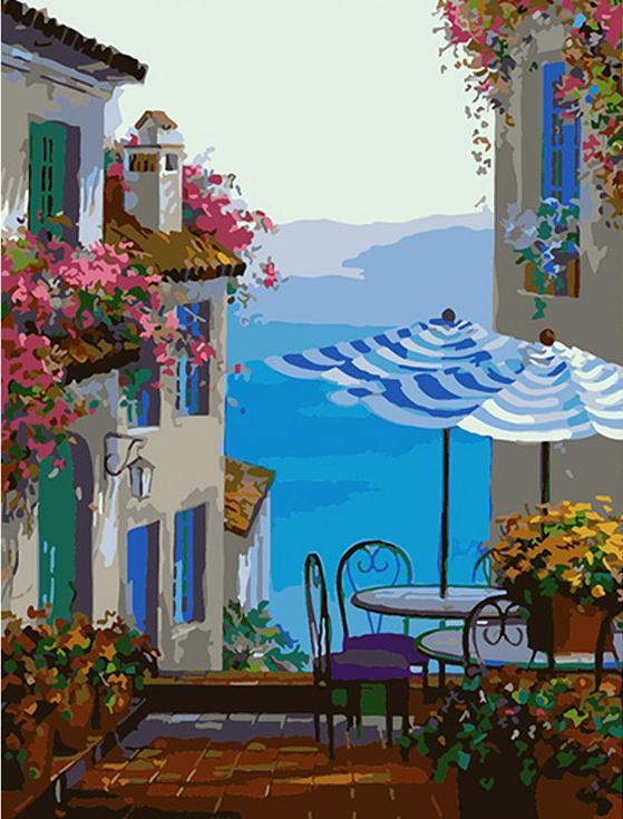 Картина по номерам «Средиземноморское кафе» Микки СенкарикРаскраски по номерам Color Kit<br>_<br><br>Артикул: ce228<br>Основа: Холст<br>Сложность: средние<br>Размер: 30x40 см<br>Количество цветов: 25<br>Техника рисования: Без смешивания красок