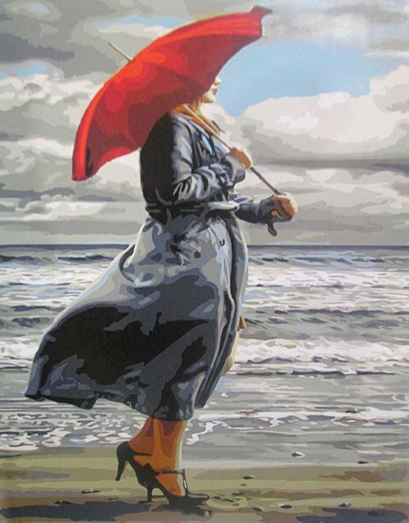 Картина по номерам «Красный зонтик» Пола КеллиРаскраски по номерам Paintboy (Original)<br><br><br>Артикул: GX8438_R<br>Основа: Холст<br>Сложность: средние<br>Размер: 40x50 см<br>Количество цветов: 24<br>Техника рисования: Без смешивания красок