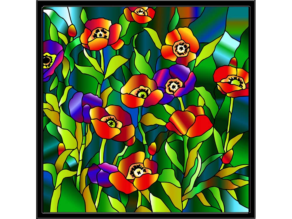 Витраж-раскраска «Маки в стиле Тиффани»Color KIT<br>Витраж-раскраска – новый вид раскрасок для взрослых. В комплектации набора предусмотрено все, что может понадобиться при создании уникального произведения искусства.<br>Основа этой раскраски – стекло, обрамленное в багетную раму. Расписывать витраж достаточ...<br><br>Артикул: HS006<br>Основа: стекло в багетной раме<br>Размер: 43x43 см<br>Количество цветов: 12