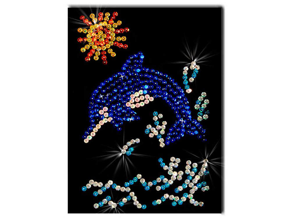 Мозаика из пайеток «Дельфинчик»Мозаика из пайеток<br>Набор мозаики из пайеток содержит все, что нужно для творческого процесса:<br>- основу-планшет из пенопласта;<br>- фон с точечной разметкой расположения паейток по цветам;<br>- разноцветные пайетки;<br>- специальные гвоздики-булавочки;<br>- рамку для готовой работы;<br>- и...<br><br>Артикул: М 001<br>Основа: Планшет из пенопласта<br>Размер: 18x26 см<br>Возраст: от 8 лет