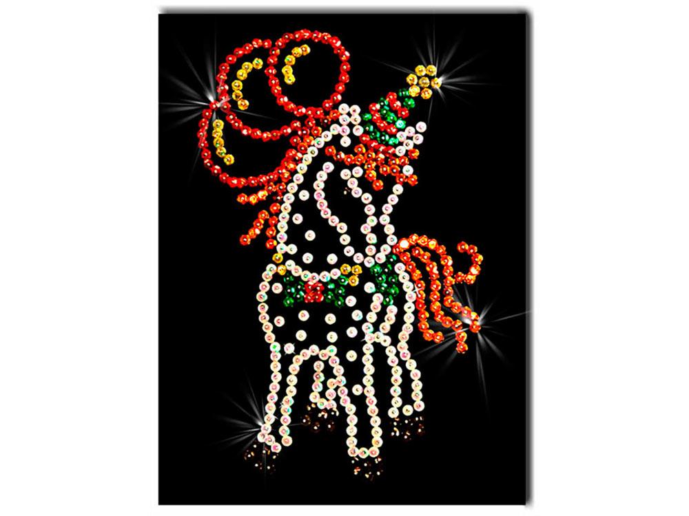 Мозаика из пайеток «Лошадка»Мозаика из пайеток<br>Набор мозаики из пайеток содержит все, что нужно дл творческого процесса:<br>- основу-планшет из пенопласта;<br>- фон с точечной разметкой расположени паейток по цветам;<br>- разноцветные пайетки;<br>- специальные гвоздики-булавочки;<br>- рамку дл готовой работы;<br>- и...<br><br>Артикул: М 003<br>Основа: Планшет из пенопласта<br>Размер: 18x26 см<br>Возраст: от 8 лет
