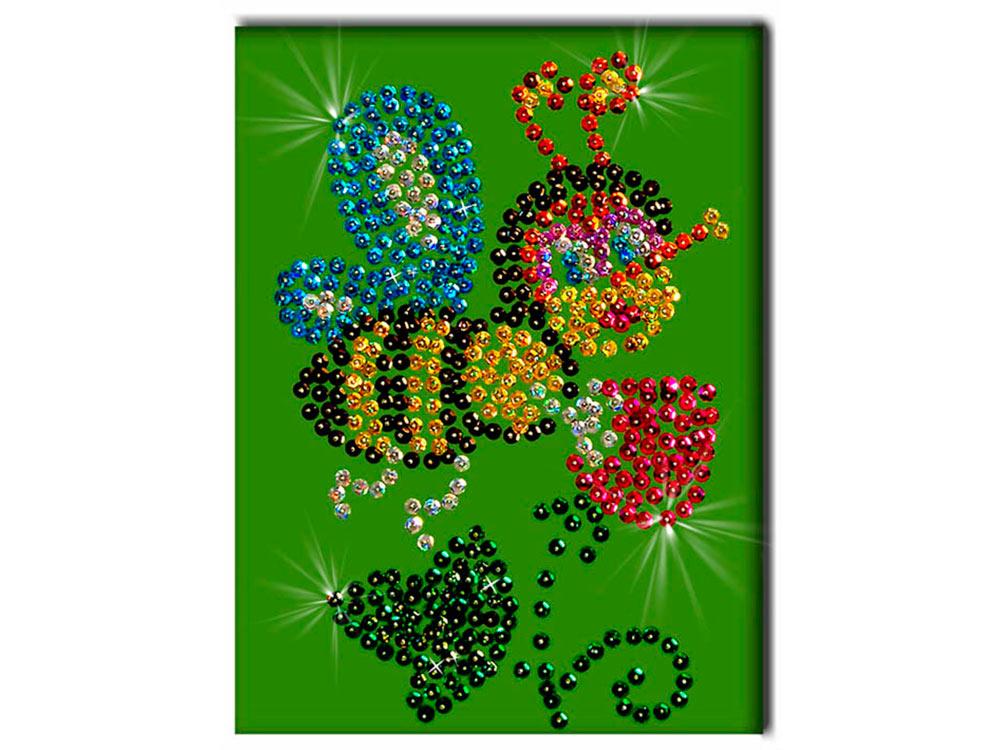 Мозаика из пайеток «Пчелка»Мозаика из пайеток<br>Набор мозаики из пайеток содержит все, что нужно для творческого процесса:<br>- основу-планшет из пенопласта;<br>- фон с точечной разметкой расположения паейток по цветам;<br>- разноцветные пайетки;<br>- специальные гвоздики-булавочки;<br>- рамку для готовой работы...<br><br>Артикул: М 004<br>Основа: Планшет из пенопласта<br>Размер: 18x26 см<br>Возраст: от 8 лет