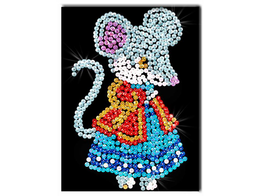 Мозаика из пайеток «Мышка»Мозаика из пайеток<br>Набор мозаики из пайеток содержит все, что нужно дл творческого процесса:<br>- основу-планшет из пенопласта;<br>- фон с точечной разметкой расположени паейток по цветам;<br>- разноцветные пайетки;<br>- специальные гвоздики-булавочки;<br>- рамку дл готовой работы;<br>- и...<br><br>Артикул: М 011<br>Основа: Планшет из пенопласта<br>Размер: 18x26 см<br>Возраст: от 8 лет
