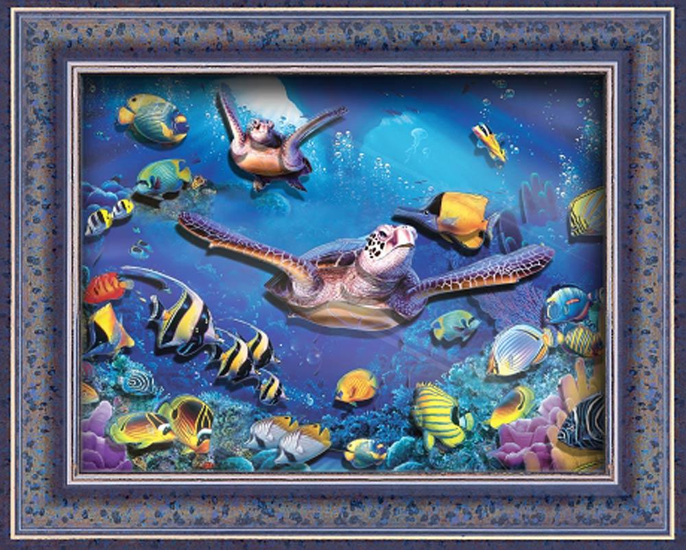"""Объемная картина «Обитатели кораллового рифа»Объемные картины Vizzle (Виззл)<br>Объемная картина Vizzle - хобби-набор для творческого досуга в любом возрасте. Комплектация набора предусматривает все, что необходимо для получения полностью завершенной картины:<br><br>- высококачественный картон с уже """"вырубленными"""" деталями (их нужно просто...<br><br>Артикул: С0273<br>Основа: Картон<br>Размер: 29,5x35,8 см"""