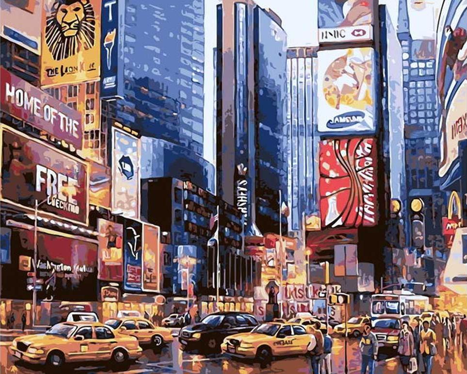 Картина по номерам «Нью-Йорк. Ночь в Манхэттене» Максима ЛанчакаЦветной (Premium)<br><br><br>Артикул: MG6537_Z<br>Основа: Холст<br>Сложность: сложные<br>Размер: 40x50 см<br>Количество цветов: 23<br>Техника рисования: Без смешивания красок