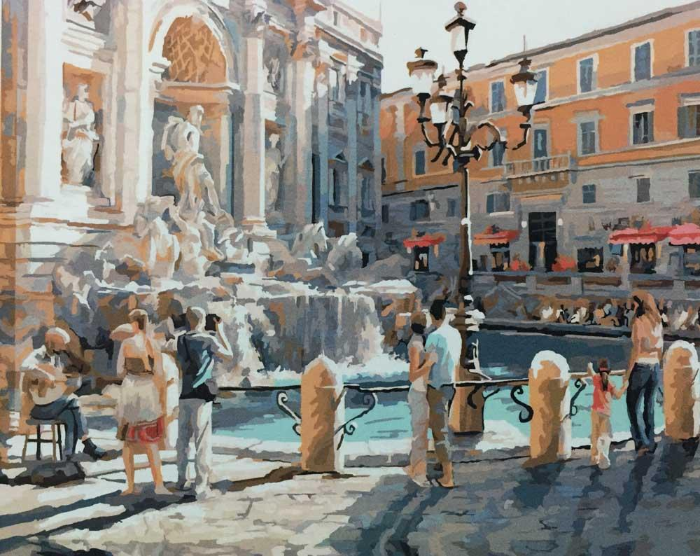 «Римский фонтан» Ричарда МакнейлаЦветной (Standart)<br><br><br>Артикул: GX8557_Z<br>Основа: Холст<br>Сложность: средние<br>Размер: 40x50 см<br>Количество цветов: 27<br>Техника рисования: Без смешивания красок