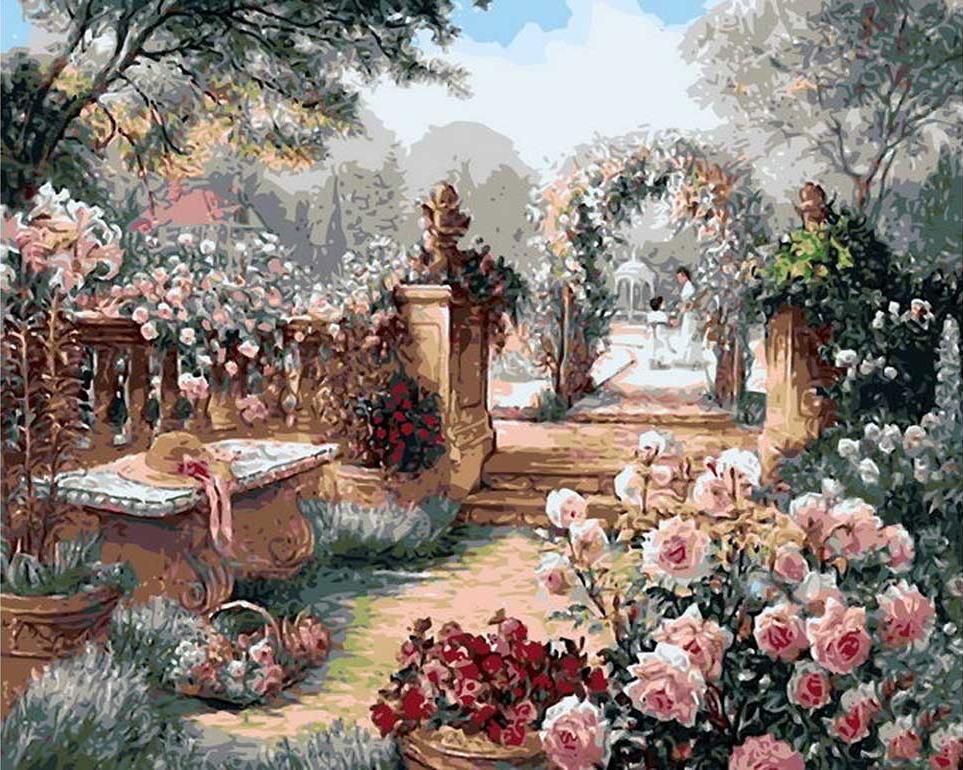 «Розовый сад» Бренды БеркРаскраски по номерам Paintboy (Original)<br><br><br>Артикул: gx8594_R<br>Основа: Холст<br>Сложность: сложные<br>Размер: 40x50 см<br>Количество цветов: 30<br>Техника рисования: Без смешивания красок