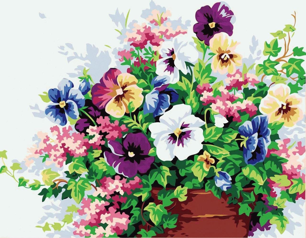Картина по номерам «Букет свежести»Menglei (Premium)<br>Изящные и нежные цветы на картине по номерам «Букет свежести» послужат прекрасным дополнением к стильному дизайну интерьера любой из комнат. Основа букета – фиалка трехцветная, больше известная как Анютины глазки, создает ощущение чистоты и обновления, ка...<br><br>Артикул: MG143<br>Основа: Холст<br>Сложность: средние<br>Размер: 40x50 см<br>Количество цветов: 22<br>Техника рисования: Без смешивания красок
