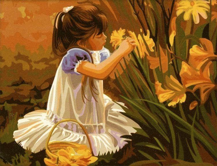 """«Девочка с цветами» Дональда ЗоланаMenglei (Premium)<br>Полотна Дональда Золана всегда полны положительной энергетикой и невероятно трогательны по сюжету. Картина по номерам """"Девочка с цветами"""", созданная по сюжету Золана, украсит любую комнату, ведь милый ребенок заставит смягчится любого, невозможно равноду...<br><br>Артикул: MG030<br>Основа: Холст<br>Сложность: сложные<br>Размер: 40x50<br>Количество цветов: 28<br>Техника рисования: Без смешивания красок"""