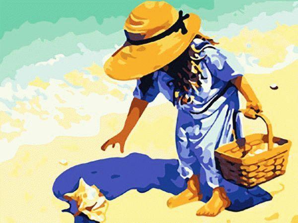 Картина по номерам «На пляж, за ракушками!»Menglei (Premium)<br>На пляж, за ракушками!<br><br>Артикул: MG037<br>Основа: Холст<br>Сложность: сложные<br>Размер: 40x50 см<br>Количество цветов: 28<br>Техника рисования: Без смешивания красок
