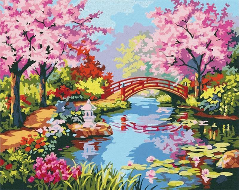 Картина по номерам Menglei (Premium) «Вишни в цвету» Сен Кима MG190