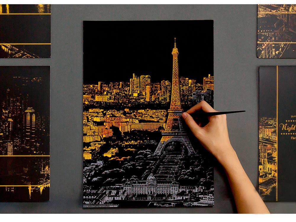 Скретч-картина «Париж»Раскраски в стиле граттаж (Скретч-картины)<br>Принцип скретч-картин прост, все, что нужно сделать – это «сцарапать» серебристое покрытие с винилового листа, на котором нанесен подробный рисунок мегаполиса. Последовательность процесса художник выбирает самостоятельно – сверху вниз, или наоборот.<br> <br> ...<br><br>Артикул: PARIS<br>Сложность: средние<br>Размер: 41x29 см