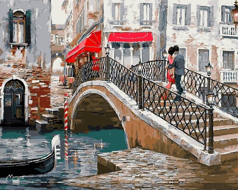 Картина по номерам «Влюбленные. Мост в Венеции» Ричарда Макнейла