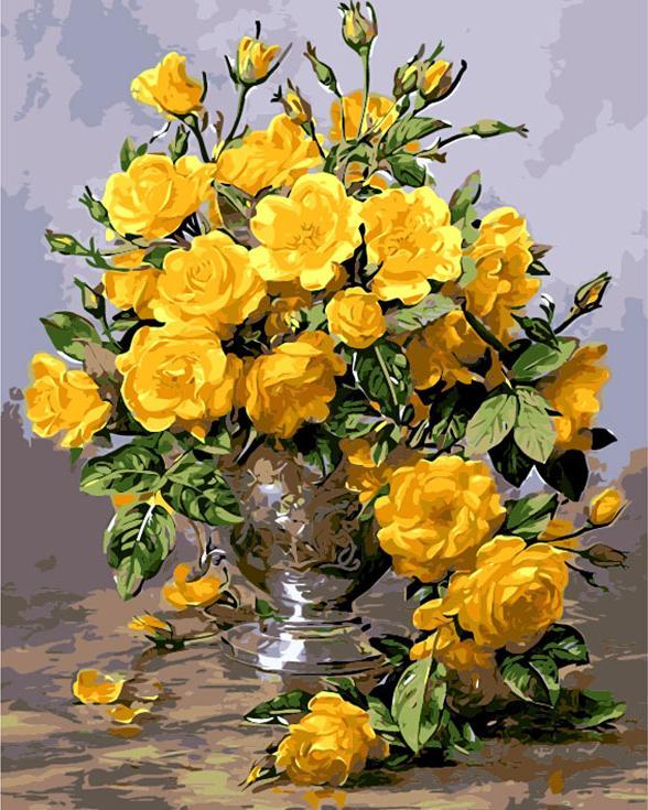 Картина по номерам «Розы в серебряной вазе» Альберта УильямсаPaintboy (Premium)<br><br><br>Артикул: GX7530<br>Основа: Холст<br>Сложность: сложные<br>Размер: 40x50 см<br>Количество цветов: 25<br>Техника рисования: Без смешивания красок