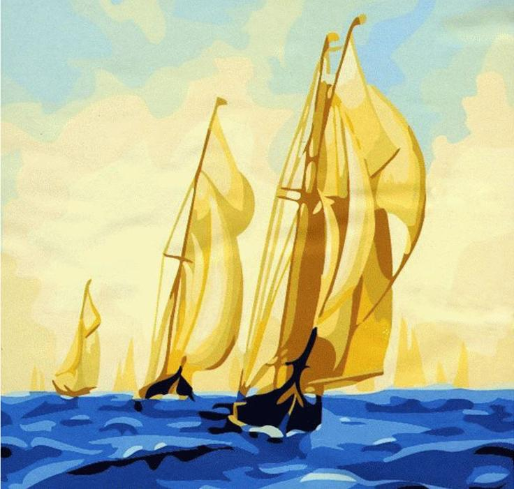 «На всех парусах»Menglei (Premium)<br><br><br>Артикул: МF012<br>Основа: Холст<br>Сложность: средние<br>Размер: 40x40 см<br>Количество цветов: 25<br>Техника рисования: Без смешивания красок