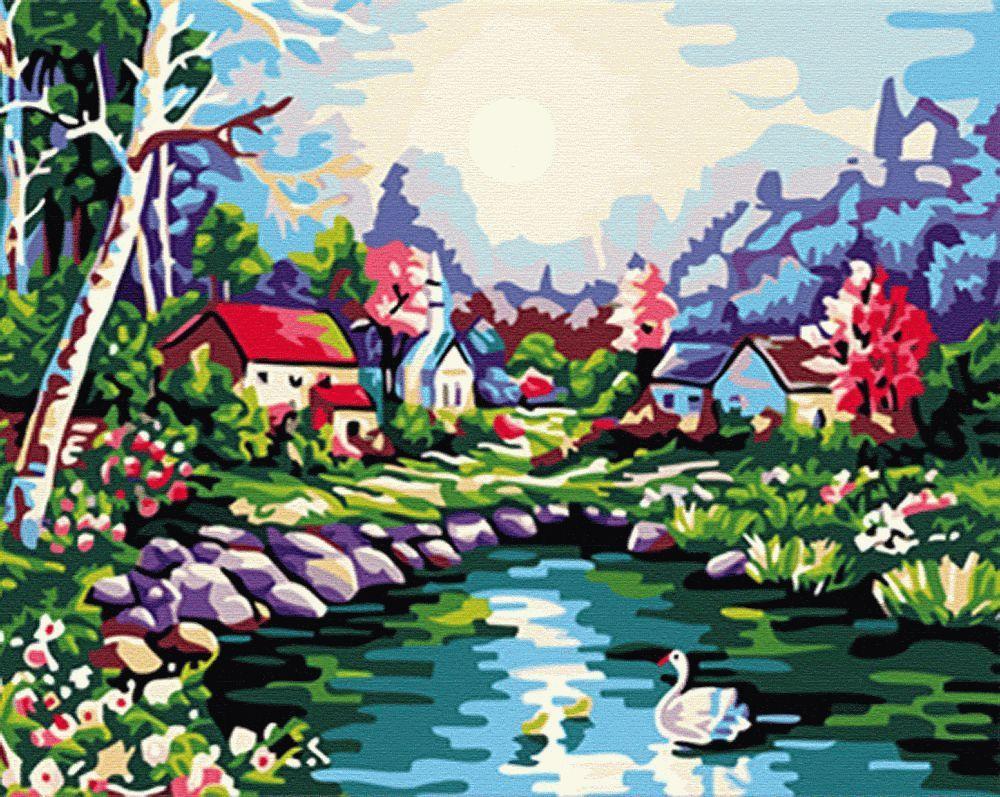 Картина по номерам «На озере»Menglei (Premium)<br><br><br>Артикул: MG107<br>Основа: Холст<br>Сложность: средние<br>Размер: 40x50 см<br>Количество цветов: 23<br>Техника рисования: Без смешивания красок