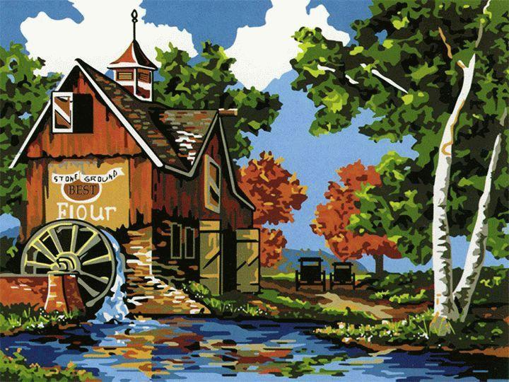«Водяная мельница»Menglei (Premium)<br><br><br>Артикул: MG142<br>Основа: Холст<br>Сложность: средние<br>Размер: 40x50 см<br>Количество цветов: 23<br>Техника рисования: Без смешивания красок