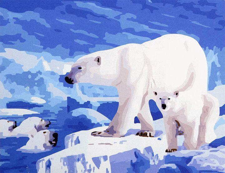 «Белый медведь»Раскраски по номерам Menglei (Standart)<br><br><br>Артикул: MG178_S<br>Основа: Холст<br>Сложность: средние<br>Размер: 40x50 см<br>Количество цветов: 25<br>Техника рисования: Без смешивания красок