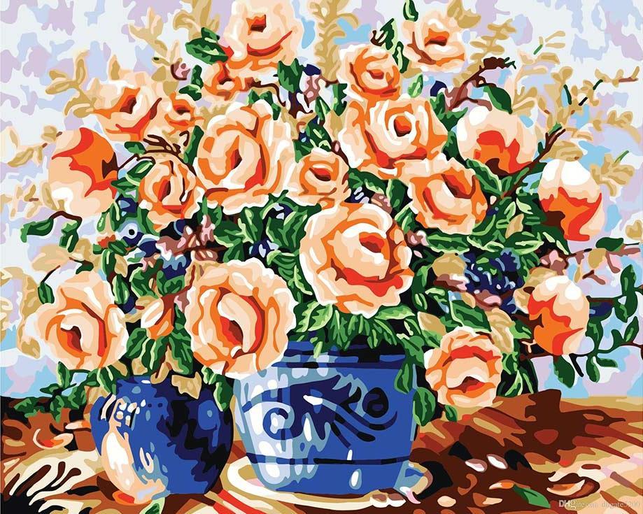 «Ваза с цветами»Menglei (Premium)<br><br><br>Артикул: MG186<br>Основа: Холст<br>Сложность: сложные<br>Размер: 40x50 см<br>Количество цветов: 25<br>Техника рисования: Без смешивания красок