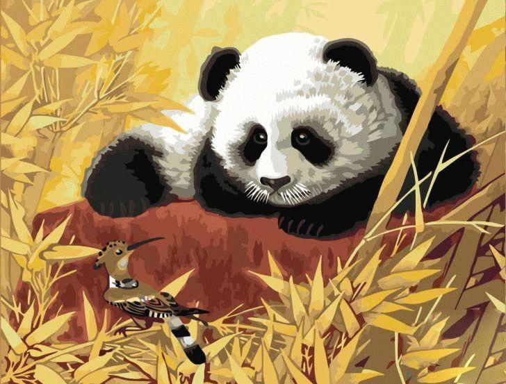 «Панда и удод»Menglei (Premium)<br><br><br>Артикул: MG188<br>Основа: Холст<br>Сложность: средние<br>Размер: 40x50 см<br>Количество цветов: 22<br>Техника рисования: Без смешивания красок