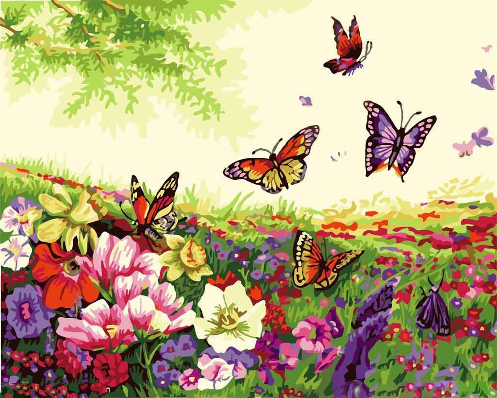 Картина по номерам «Танец бабочек»Menglei (Premium)<br><br><br>Артикул: MG250<br>Основа: Холст<br>Сложность: средние<br>Размер: 40x50 см<br>Количество цветов: 25<br>Техника рисования: Без смешивания красок