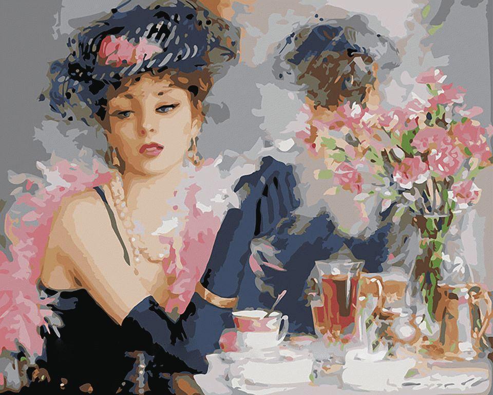 """Картина по номерам «За чаем» Константина РазумоваMenglei (Premium)<br>Картина по номерам """"За чаем"""", созданная по сюжету Константина Разумова, обращает на себя внимание интересным сочетанием реалистичного изображения девушки и немного размытого фона, написанного в технике импрессионизма. По словам художника, это молодая леди...<br><br>Артикул: MG275<br>Основа: Холст<br>Сложность: сложные<br>Размер: 40x50 см<br>Количество цветов: 24<br>Техника рисования: Без смешивания красок"""