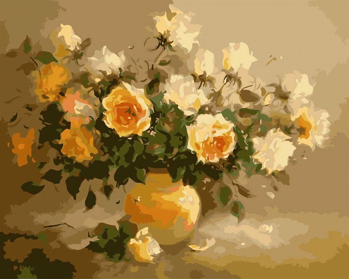 Картина по номерам «Букет персиковых роз»Menglei (Premium)<br><br><br>Артикул: MG278<br>Основа: Холст<br>Сложность: сложные<br>Размер: 40x50 см<br>Количество цветов: 25<br>Техника рисования: Без смешивания красок