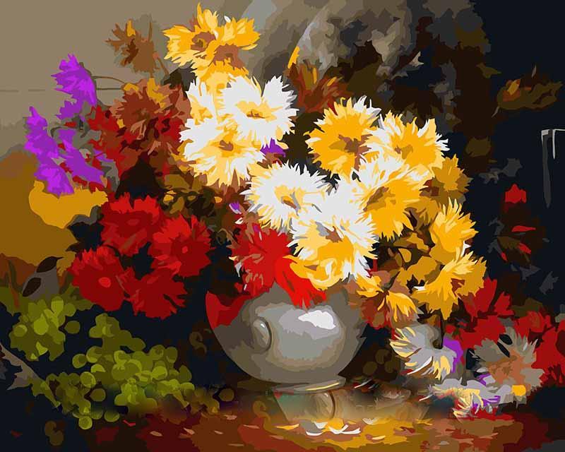 """Картина по номерам «Солнечный букет» Антона ГорцевичаMenglei (Premium)<br>Антон Горцевич создает яркие и интересные полотна, и """"Солнечный букет"""" не является исключением. Красивые астры и спелый виноград радуют сочными, контрастными цветами и настраивают на позитив. Кстати, название любимого многими цветка, изображенного на поло...<br><br>Артикул: MG294<br>Основа: Холст<br>Сложность: сложные<br>Размер: 40x50 см<br>Количество цветов: 30<br>Техника рисования: Без смешивания красок"""