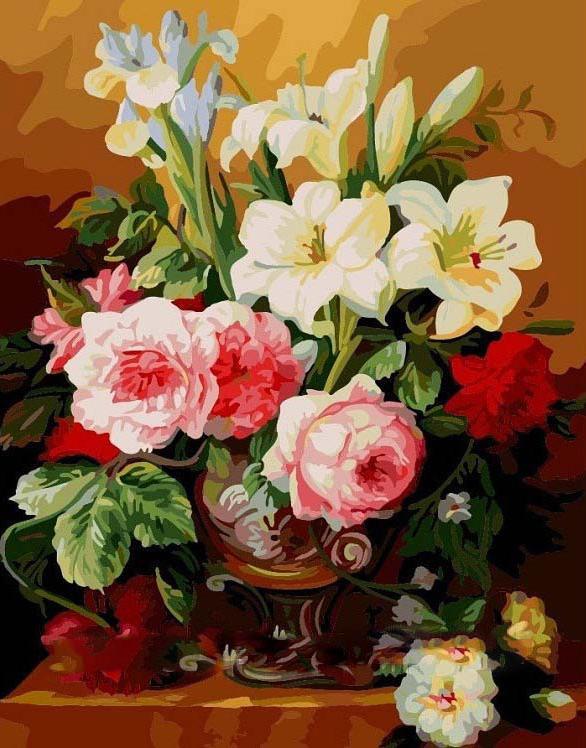 «Чудесный букет»Menglei (Premium)<br><br><br>Артикул: MG318<br>Основа: Холст<br>Сложность: очень сложные<br>Размер: 40x50 см<br>Количество цветов: 42<br>Техника рисования: Без смешивания красок