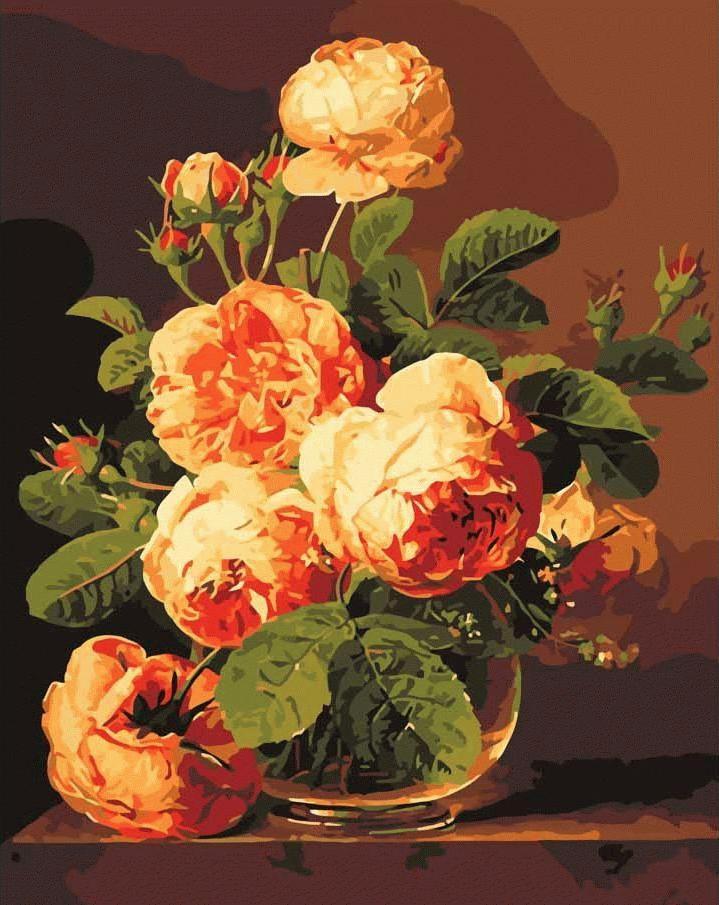 «Аромат роз»Раскраски по номерам Menglei (Standart)<br><br><br>Артикул: MG341_S<br>Основа: Холст<br>Сложность: средние<br>Размер: 40x50 см<br>Количество цветов: 25<br>Техника рисования: Без смешивания красок