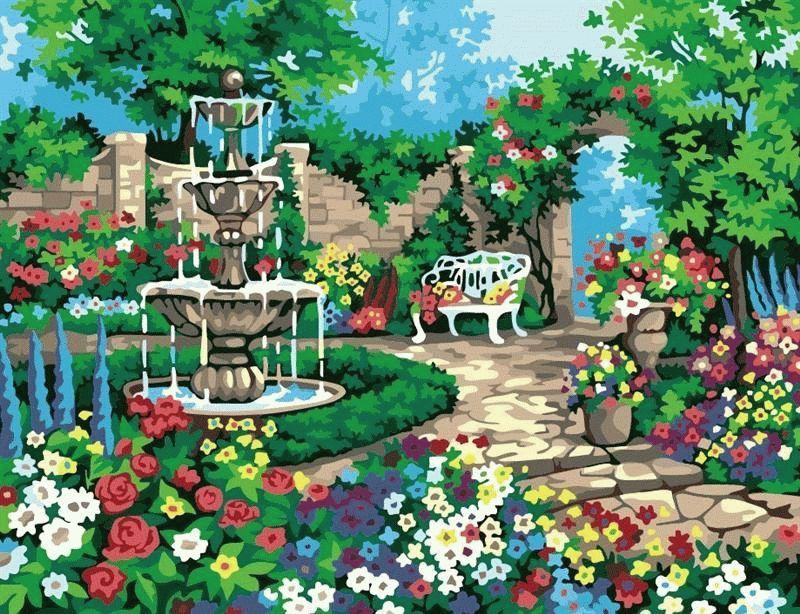 """«У фонтана»Menglei (Premium)<br>Яркий летний пейзаж, изображенный на картине по номерам """"У фонтана"""", понравится всем без исключения. Цветовая гамма картины насыщенна и сочна, красивый сад приковывает внимание, уютный уголок для отдыха заставляет отвлечься от повседневности и расслабитьс...<br><br>Артикул: MMC033<br>Основа: Холст<br>Сложность: средние<br>Размер: 50x65 см<br>Количество цветов: 20<br>Техника рисования: Без смешивания красок"""