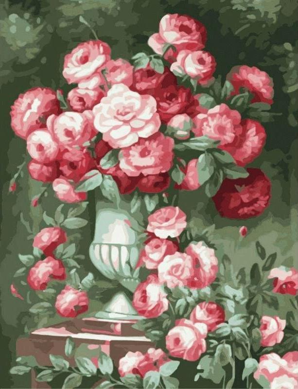 Картина по номерам «Розовый букет»Раскраски по номерам Menglei (Standart)<br><br><br>Артикул: MMC055_S<br>Основа: Холст<br>Сложность: сложные<br>Размер: 50x65 см<br>Количество цветов: 25<br>Техника рисования: Без смешивания красок