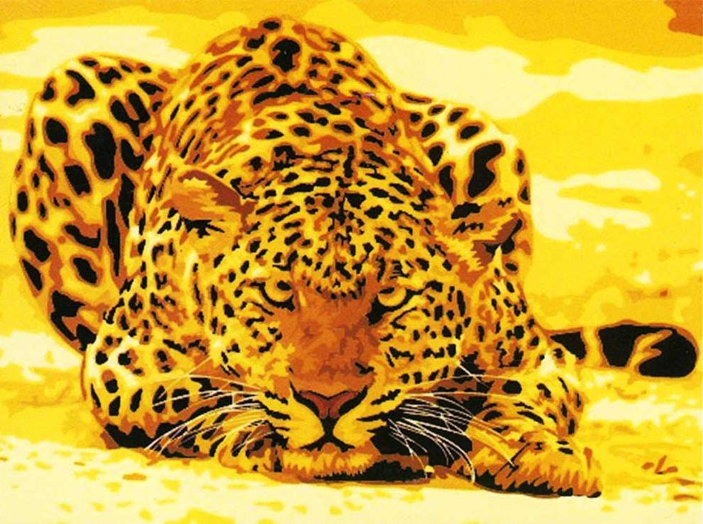 """Картина по номерам «Хищник»Menglei (Premium)<br>Грациозный и благородный леопард является символом ловкости, скорости и храбрости. Красивая картина по номерам в желто-песочных тонах несет в себе настоящее """"послание"""", ведь взгляд этого изящного хищника сразу все расставит на свои места. Он обманчиво спо...<br><br>Артикул: MG305<br>Основа: Холст<br>Сложность: легкие<br>Размер: 40x50 см<br>Количество цветов: 10<br>Техника рисования: Без смешивания красок"""