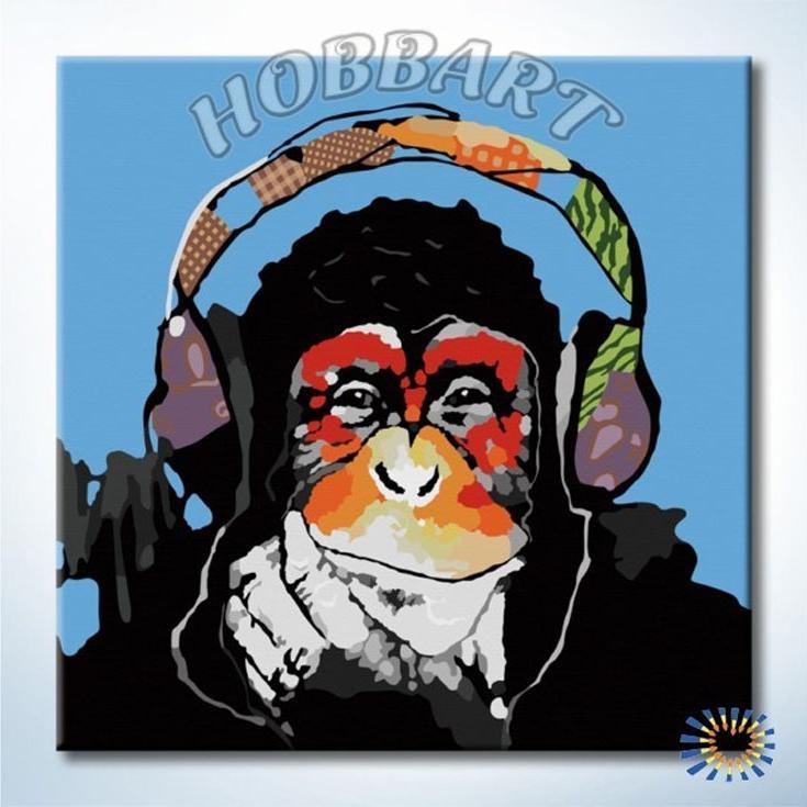 «Monkey — Music. Чувство ритма»Hobbart<br><br><br>Артикул: DZ4040005<br>Основа: Холст<br>Сложность: легкие<br>Размер: 40x40 см<br>Количество цветов: 24<br>Техника рисования: Без смешивания красок