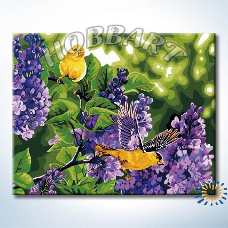 Картина по номерам «Сиреневые гости»Hobbart<br><br><br>Артикул: HB4050232<br>Основа: Холст<br>Сложность: сложные<br>Размер: 40x50 см<br>Количество цветов: 25<br>Техника рисования: Без смешивания красок