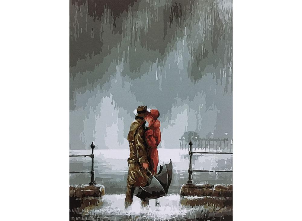 «Поцелуй под дождем» Джеффа РоуландаРаскраски по номерам Paintboy (Original)<br><br><br>Артикул: GX8002_R<br>Основа: Холст<br>Сложность: сложные<br>Размер: 40x50 см<br>Количество цветов: 25<br>Техника рисования: Без смешивания красок