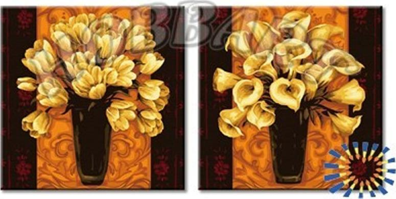 «Два букета в золотом»Hobbart<br><br><br>Артикул: JP24080001<br>Основа: Холст<br>Сложность: средние<br>Размер: 2 шт. 40x40 см<br>Количество цветов: 18<br>Техника рисования: Без смешивания красок