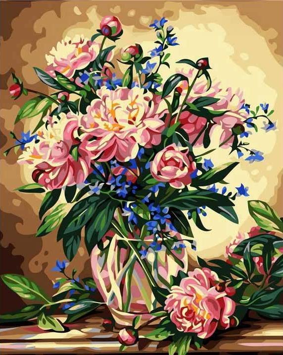 Картина по номерам «Пионы в вазе»Menglei (Premium)<br>На лепестках пионов написана тысячелетняя история, ведь известны они стали еще до нашей эры. Интересна легенда появления этого благоухающего цветка. По одной из версий жил когда-то в Греции врачеватель Пеон, сострадательный и усердный лекарь. Исторический...<br><br>Артикул: MG081<br>Основа: Холст<br>Сложность: сложные<br>Размер: 40x50 см<br>Количество цветов: 24<br>Техника рисования: Без смешивания красок