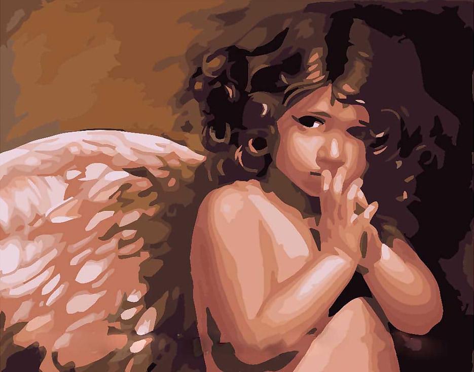 """«Ангелочек» Нэнси НоэльMenglei (Premium)<br>Никто не знает, как именно выглядят Ангелы-хранители, но многие верят, что находятся под их постоянной защитой и часто благодарят за то, что вовремя оказываются в нужном месте в нужное время. Картина по номерам """"Ангелочек"""" - удивительно нежная и теплая по...<br><br>Артикул: MG295<br>Основа: Холст<br>Сложность: средние<br>Размер: 40x50 см<br>Количество цветов: 22<br>Техника рисования: Без смешивания красок"""