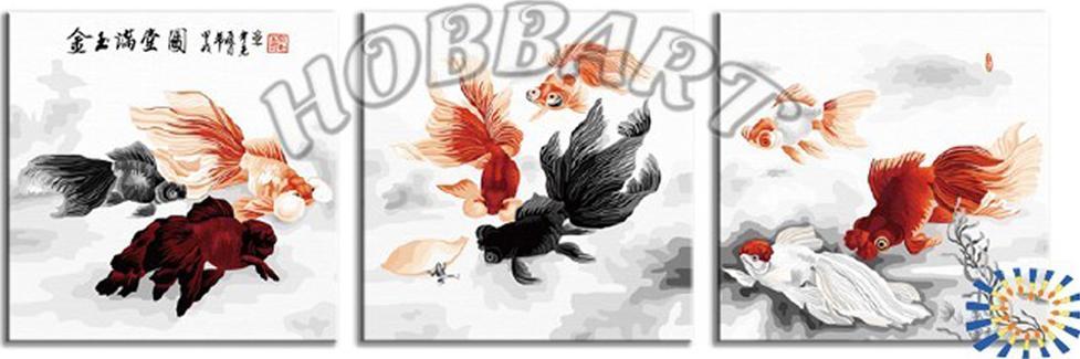 «Золотые рыбки»Hobbart<br><br><br>Артикул: PH340120079<br>Основа: Холст<br>Сложность: средние<br>Размер: 3 шт. 40x40 см<br>Количество цветов: 27<br>Техника рисования: Без смешивания красок